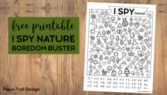 Free Printable I Spy Nature Game. Outdoor themed boredom buster game for kids to play on a cold rainy winter day, in the summer, or on a road trip. #papertraildesign #ISpy #roadtrip #boredombuster #summer #rainyday #kids