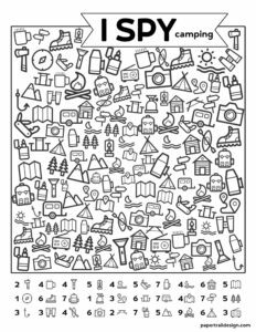 Free Printable I Spy Camping Kids Activity. Road trip game or boredom buster for rainy day or summer boredom kids activity. #papertraildesign #ispyfree #rainyday #imbored #printable #kids #kidsactivity #camping #campingispy