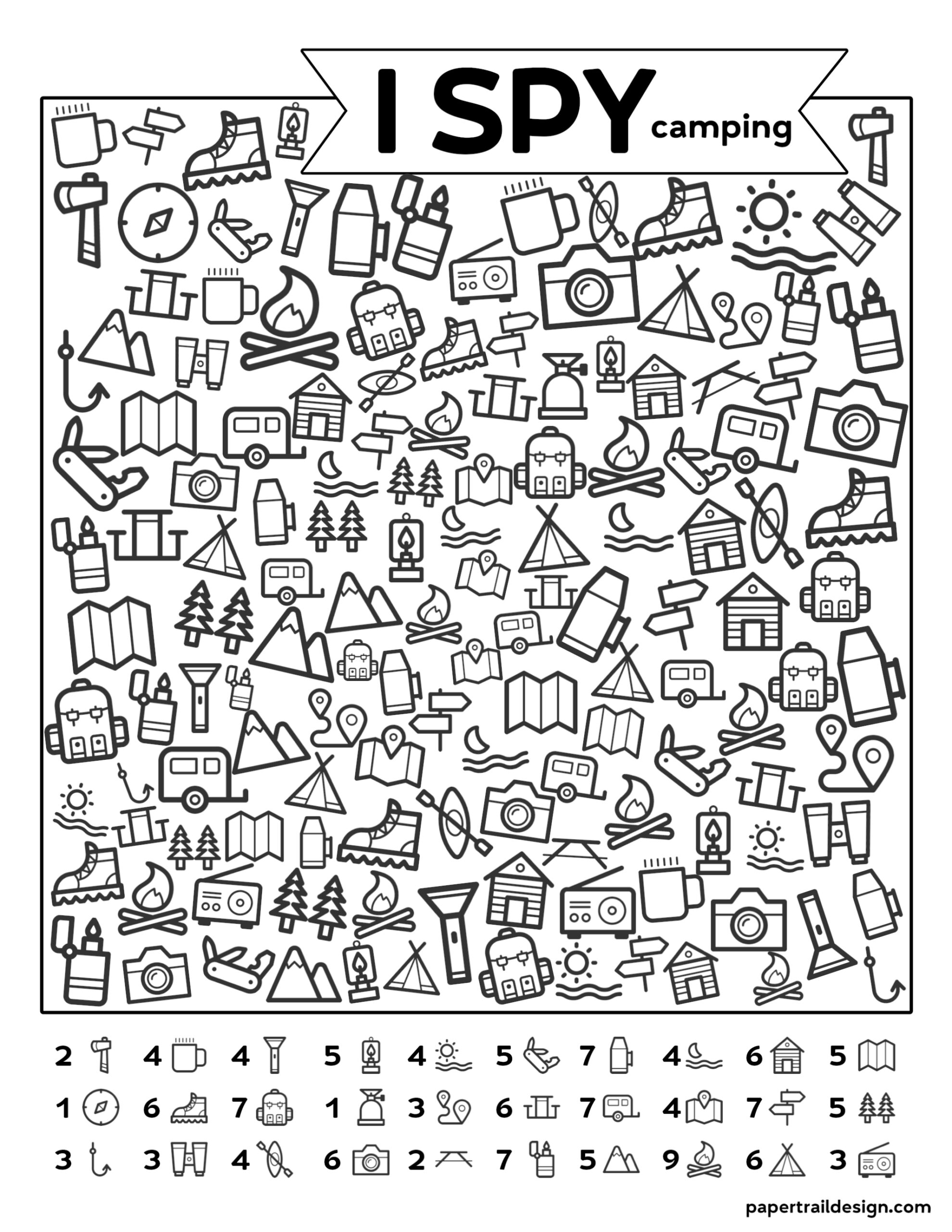 Free Printable I Spy Camping Kids Activity - Paper Trail Design