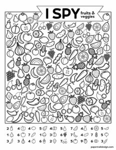 Free Printable I Spy Game - Fruits & Veggies. Easy fun car activity or rainy day boredom buster activty to keep kids busy. #papertraildesign #kids #kidsactivity #roadtrip #roadtripgames #freeprintables