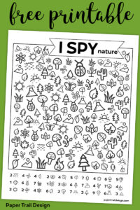 Free Printable I Spy Nature Game. Outdoor themed boredom buster game for kids to play on a cold rainy winter day, in the summer, or on a road trip. #papertraildesign #ISpyprintable #carride #travel #Imbored #printablekidsactivity #ISpygame