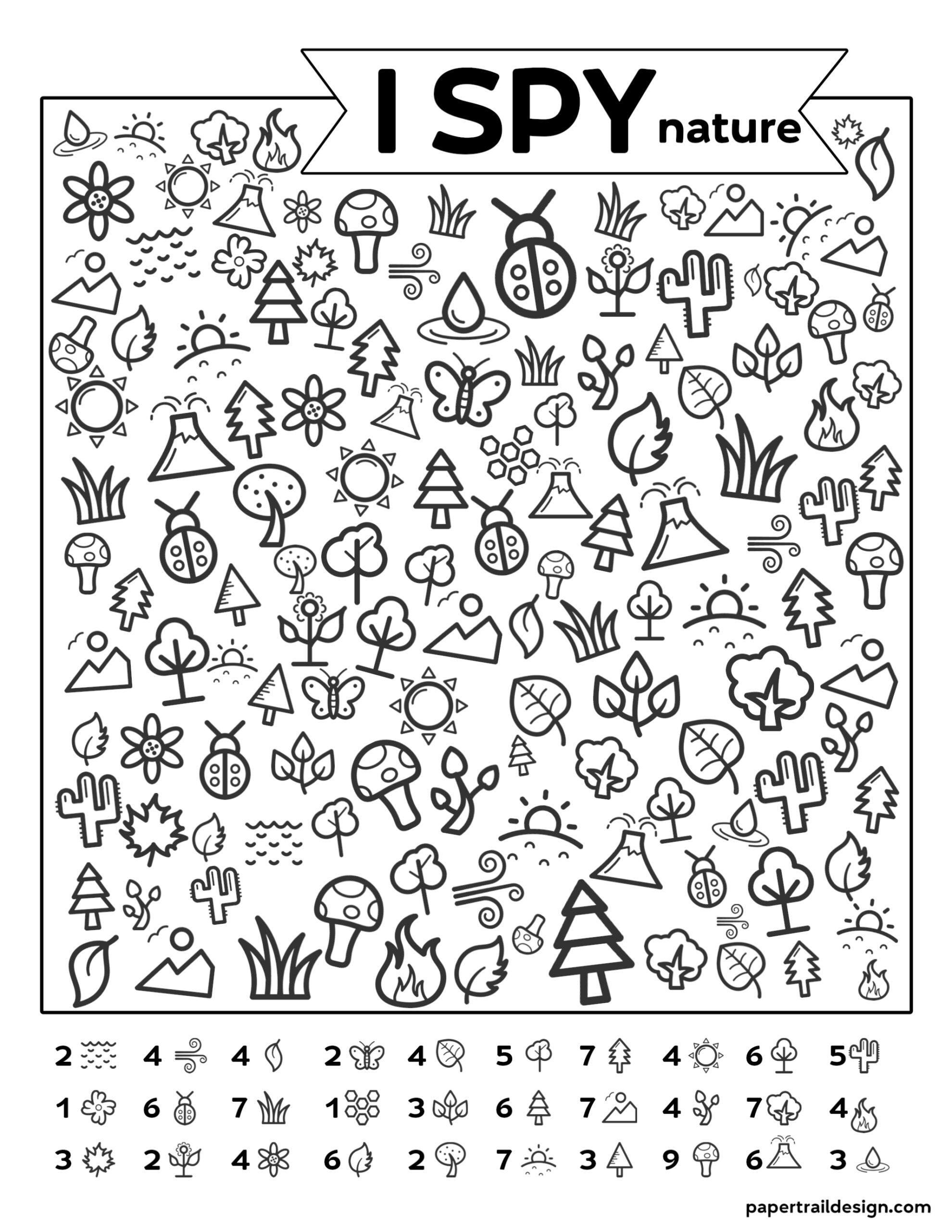 Free Printable I Spy Nature Game Paper Trail Design