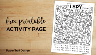 Free Printable I Spy Camping Kids Activity. Road trip game or boredom buster for rainy day or summer boredom kids activity. #papertraildesign #boredombuster #Ispy #ispyprintable #ispygame #roadtrip #roadtripgames #boredombuster