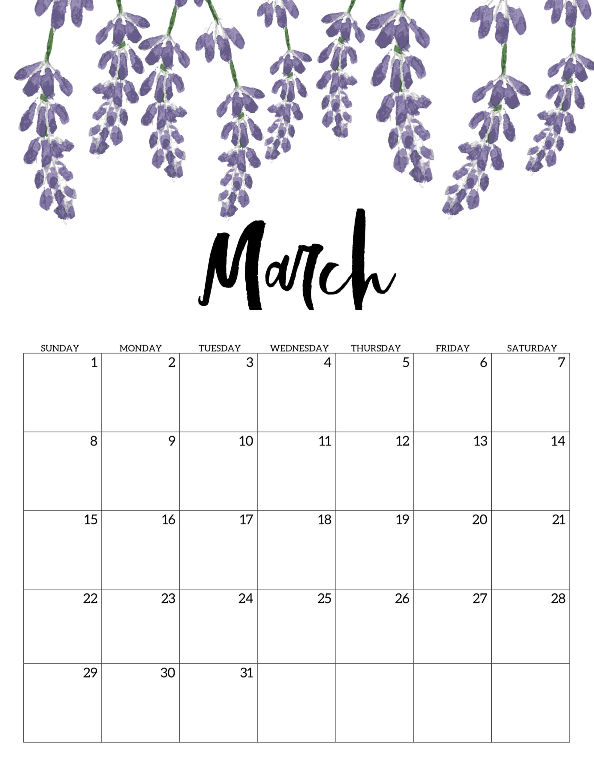 Free Printable March 2020 Calendar.Free Printable Calendar 2020 Floral Paper Trail Design