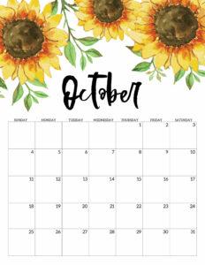 October Free Printable Calendar 2020 - Floral. Watercolor Flower design style calendar. Monthly calendar pages. Cute office or desk organization. #papertraildesign #calendar #floralcalendar #2020 #2020calendar #floral2020calendar