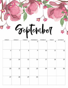 September Free Printable Calendar 2020 - Floral. Watercolor Flower design style calendar. Monthly calendar pages. Cute office or desk organization. #papertraildesign #calendar #floralcalendar #2020 #2020calendar #floral2020calendar