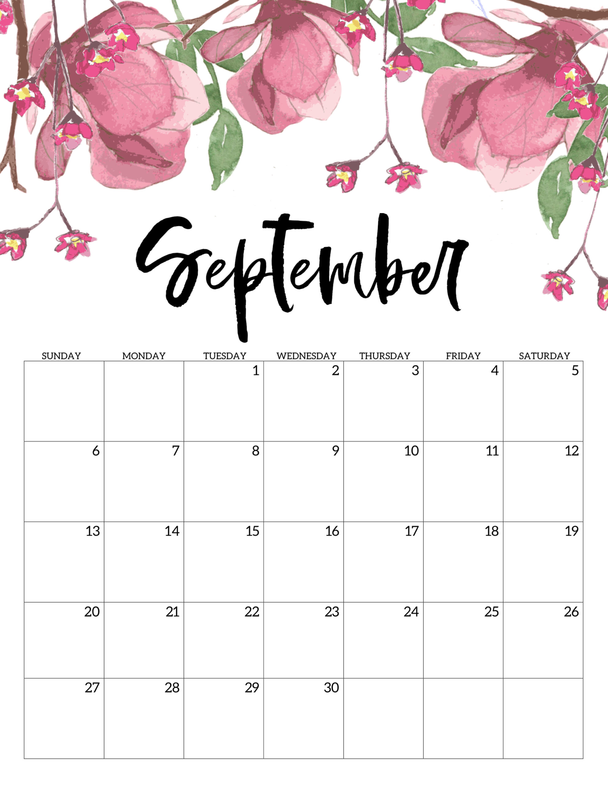Printable Calendar August 2020.Free Printable Calendar 2020 Floral Paper Trail Design