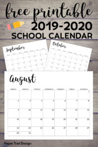 August, September, and October calendar with text overlay- free printable 2019-2020 school calendar