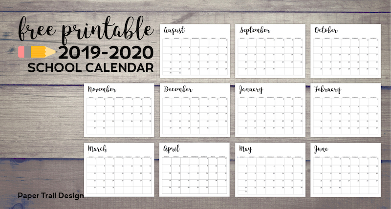 Calendar from August 2019 to June 2020 with test overlay- free printable 2019-2020 school calendar