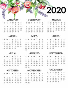 2020 floral one page year at a glance calendar from January to December