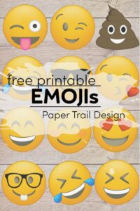 12 emoji faces on a wood background with text overlay free printable emojis