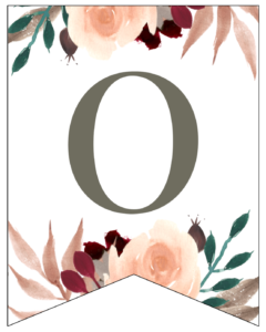 Number 0 Penant Flag with pink, green, brown, and burgandy floral embellishments.