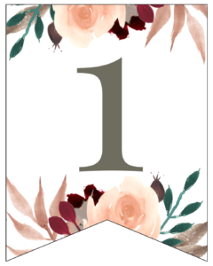 Number 1 Penant Flag with pink, green, brown, and burgandy floral embellishments.