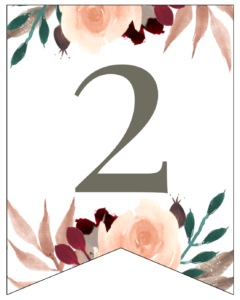 Number 2 Penant Flag with pink, green, brown, and burgandy floral embellishments.