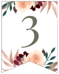 Number 3 Penant Flag with pink, green, brown, and burgandy floral embellishments.