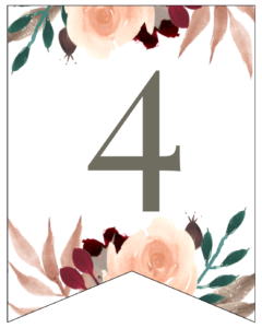Number 4 Penant Flag with pink, green, brown, and burgandy floral embellishments.