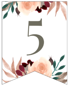 Number 5 Penant Flag with pink, green, brown, and burgandy floral embellishments.