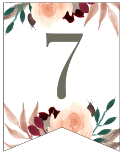 Number 7 Penant Flag with pink, green, brown, and burgandy floral embellishments.