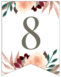 NUmber 8 Penant Flag with pink, green, brown, and burgandy floral embellishments.