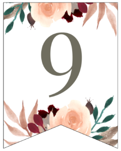 Number 9 Penant Flag with pink, green, brown, and burgandy floral embellishments.