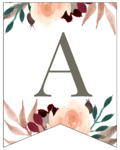 Letter A Penant Flag with pink, green, brown, and burgandy floral embellishments.