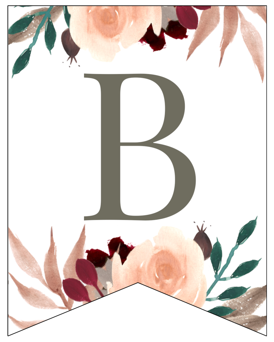 Fall Floral Alphabet Banner Letters Free Printable | Paper ...