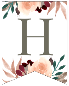 Letter H Penant Flag with pink, green, brown, and burgandy floral embellishments.