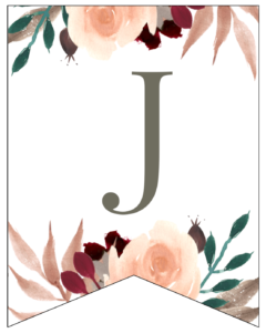 Letter J Penant Flag with pink, green, brown, and burgandy floral embellishments.