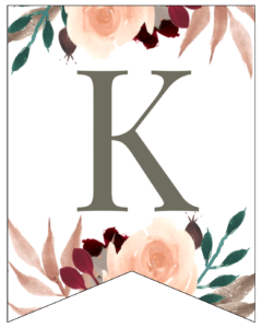 Letter K Penant Flag with pink, green, brown, and burgandy floral embellishments.
