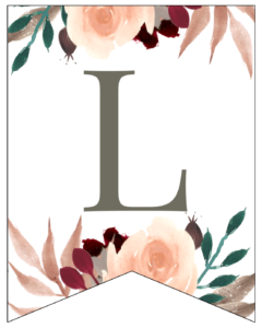 Letter L Penant Flag with pink, green, brown, and burgandy floral embellishments.