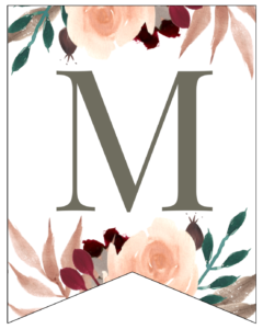 Letter M Penant Flag with pink, green, brown, and burgandy floral embellishments.