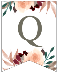 Letter Q Penant Flag with pink, green, brown, and burgandy floral embellishments.
