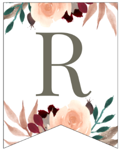 Letter R Penant Flag with pink, green, brown, and burgandy floral embellishments.