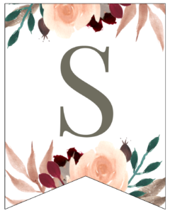 Letter S Penant Flag with pink, green, brown, and burgandy floral embellishments.