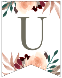 Letter U Penant Flag with pink, green, brown, and burgandy floral embellishments.