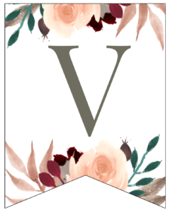Letter V Penant Flag with pink, green, brown, and burgandy floral embellishments.