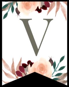 Letter V Penant Flag with pink, green, brown, and burgandy floral embellishments.