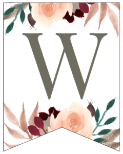Letter W Penant Flag with pink, green, brown, and burgandy floral embellishments.