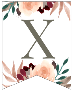 Letter X Penant Flag with pink, green, brown, and burgandy floral embellishments.