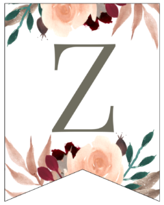 Letter Z Penant Flag with pink, green, brown, and burgandy floral embellishments.