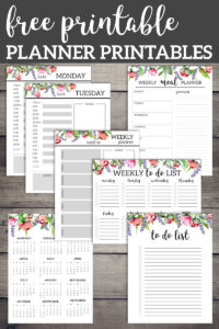 Floral planner printables including a one page calendar, Monday and Tuesday planner pages, weekly planner page, weekly to do list, to do list, calendar, and weekly planner with text overlay-free printable planner printables.