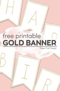 Gold banner letters H,A,P,B,I,R on pink background with text overlay free printable gold banner