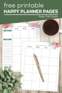 Happy Planner pages with floral design with text overlay- free printable happy planner pages