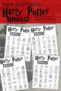 Harry Potter themed bingo cards with text overlay- free printable Harry Potter bingo