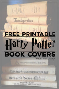 Books on display with Harry Potter themed book covers such as transfiguration with text overlay- free printable Harry Potter book covers