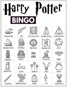 Harry Potter Bingo Card with 24 Harry Potter icon pictures and a free space in the center.