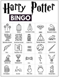 Harry Potter Bingo Card with 24 Harry Potter themed icon pictures and a free space in the center.
