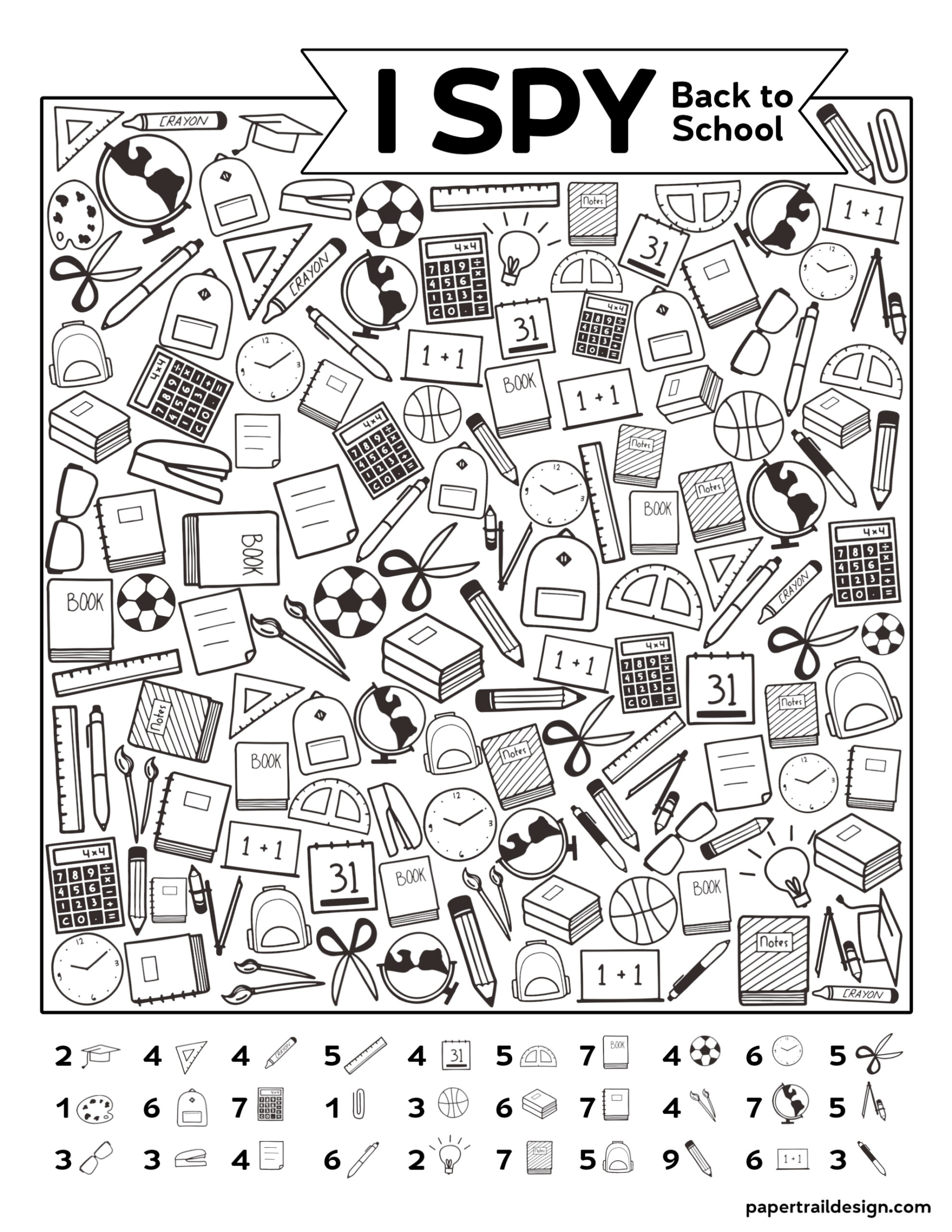 Free Printable I Spy Back to School Activity | Paper Trail ...