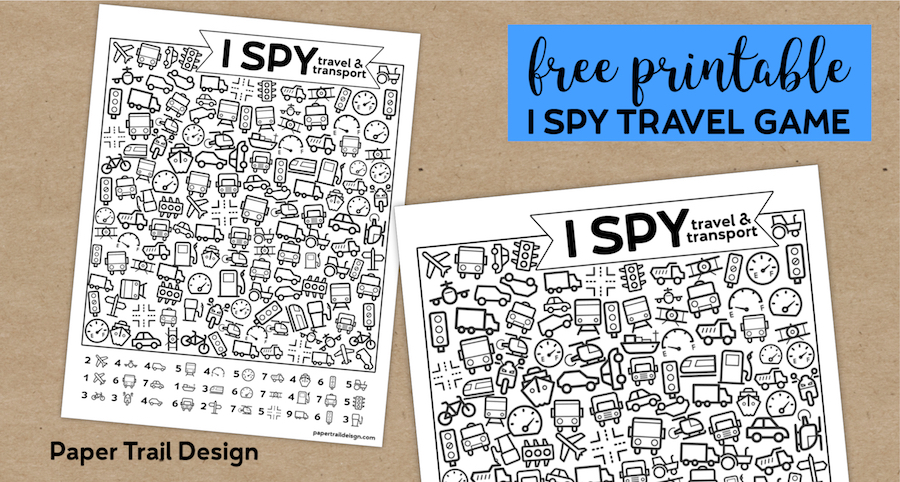 Free Printable I Spy Road Trip Activity {Travel & Transport}. Fun boredom buster kids game for a rainy day, or summer activity. #papertraildesign #ispy #kids #kidsprintables #printablesforkids #kidsactivity #boredomebuster