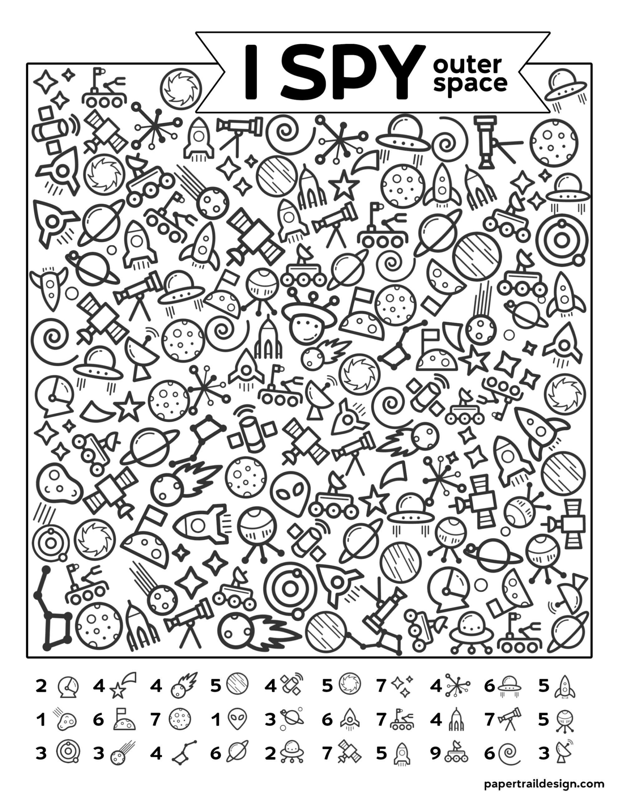 image regarding Space Printable identified as Totally free Printable I Spy Outer Place Recreation - Paper Path Style and design